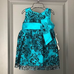 Jayne Copeland Lace Teal Girls Dress